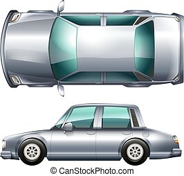 A silver vehicle