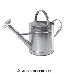 A simple aluminum watering can isolated on a white background