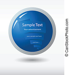 A simple blue button with web banner inside, vector