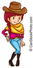 Illustration of a simple coloured sketch of a cowgirl on a white background