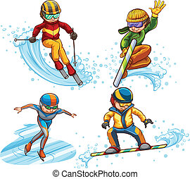 A simple coloured sketch of people skating - Illustration of...