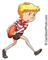 a, simple, croquis, de, a, joueur rugby
