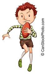 a, simple, dessin, de, a, jeune, joueur rugby
