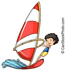 A simple drawing of a boy sailing