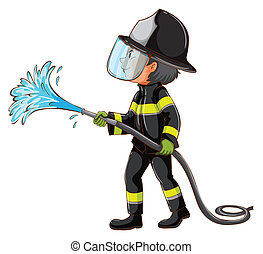 A simple drawing of a fireman holding a hose
