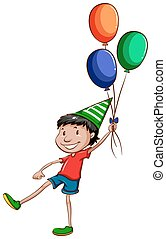 A simple drawing of a happy young boy with balloons