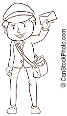 A simple drawing of a postman - Illustration of a simple...