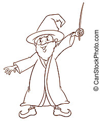 A simple drawing of a wizard