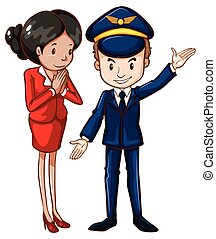 A simple drawing of an air hostess and a pilot -...