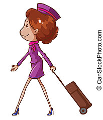A simple drawing of an air hostess - Illustration of a...