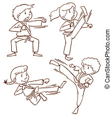 A simple drawing of the people doing martial arts