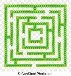 A simple green maze of leaves. Game for kids. Puzzle for children. One entrance, one exit. Labyrinth conundrum. Flat vector illustration isolated on transparent background.