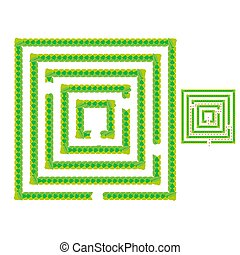 A simple green maze of leaves. Game for kids. Puzzle for children. One entrance, one exit. Labyrinth conundrum. Flat vector illustration isolated on white background. With answer.