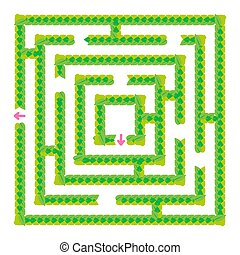 A simple green maze of leaves. Game for kids. Puzzle for children. One entrance, one exit. Labyrinth conundrum. Flat vector illustration isolated on white background.