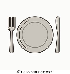 A simple icon of a place and fork with knife.