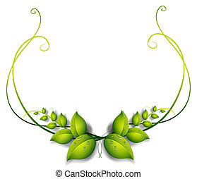 Illustration of a simple leafy border on a white background