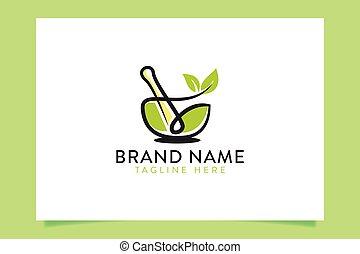 organic mortar and pestle logo