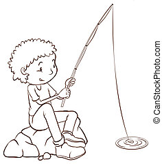 A simple plain sketch of a boy fishing