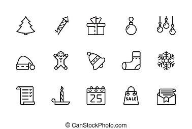 A simple set of New Year and Christmas related vector linear icons. 48x48 Pixel Perfect. Editable Stroke.