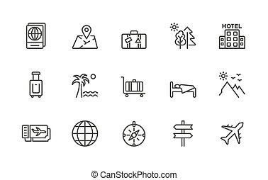 A simple set of Travel related vector linear icons. Contains icons such as: Passport, Location, Hotel, Sleeper, Beach, Ticket, Tourism, Airplane, Landscape. 48x48 Pixel Perfect. Editable Stroke.