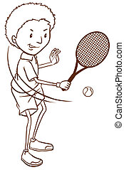 A simple sketch of a boy playing tennis