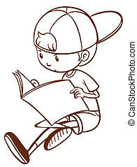 A simple sketch of a boy reading