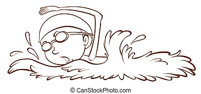 A simple sketch of a boy swimming