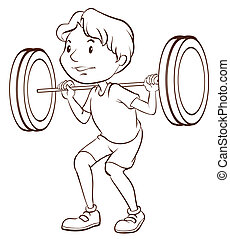 A simple sketch of a boy training