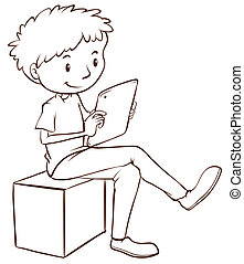 A simple sketch of a boy using a mobile