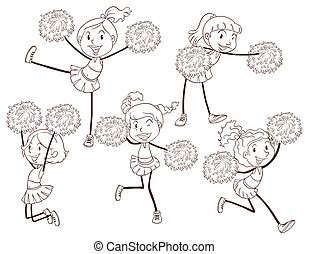 A simple sketch of a cheering squad - Illustration of a ...