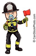 A simple sketch of a fireman holding an axe