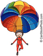 A simple sketch of a girl with a parachute - Illustration of...