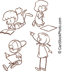 A simple sketch of students reading and writing