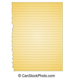 A simple vector yellow note pad page torn