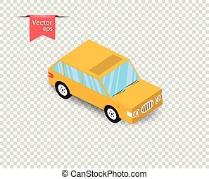 A simple yellow toy car with a shadow. Vector illustration on isolated transparent background.