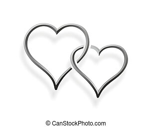 two hearts entwined - a simplified illustration of two...