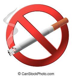 a, sinal, não, smoking.
