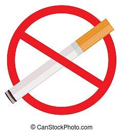 a, sinal, não, smoking., ilustração, branco, fundo