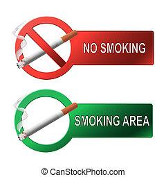 a, sinal, nenhum fumar, e, fumar, área