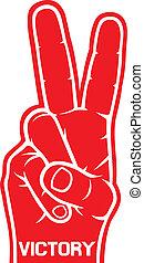 a, sinal vitória, gesto mão