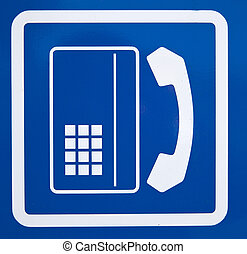 a sing of phonecell with blue background