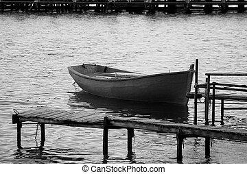 A single boat in the sea