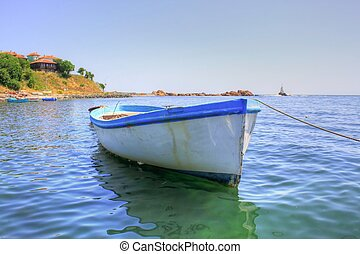 A single boat in the sea