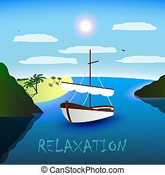 A single-masted sailboat in the beautiful bay. Beach, palm trees and sea. Blue sky, white clouds, seagulls. Relaxation for body and soul.