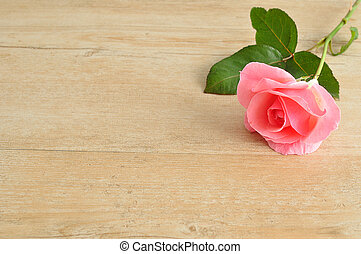 A single pink Rose on a wooden table