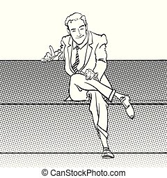 A sitting man with pointing index finger. Man trying to...