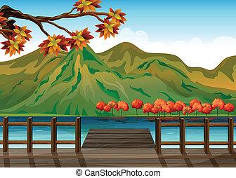 a, sjöstad, överse, den, mountains