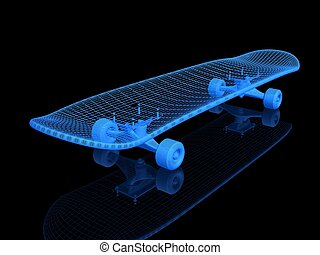 A skateboard on a black background