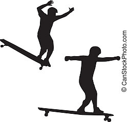 A skateboarder sillouette vector - A skateboard of a...