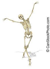 A skeleton takes a graceful ballet pose - 3D render.